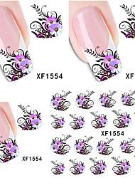 Watermark Water Transfer Design Purple Flowers European Style Tip Nail Art Sticker