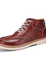 Черный Синий Коричневый-Мужской-Для прогулок Повседневный-Кожа-На плоской подошве-Удобная обувь-Ботинки