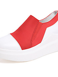 Women's Boots Fall Winter Comfort PU Outdoor Casual Wedge Heel Black Red Walking Fitness & Cross Training