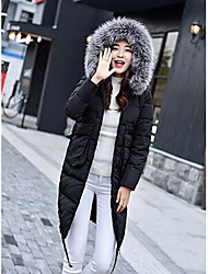 Women's Long Down Coat,Simple Casual/Daily Solid-Polyester White Duck Down Long Sleeve Black