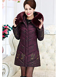 Women's Long Padded Coat,Simple Casual/Daily Plus Size Floral-Others Polypropylene Long Sleeve Red Brown Green Purple