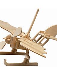 Quebra-cabeças Quebra-Cabeças de Madeira Blocos de construção DIY Brinquedos Helicóptero 1 Madeira Ivory
