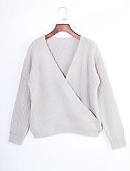 Normal Pullover Femme Décontracté / Quotidien Chic de Rue,Couleur Pleine Gris Col en V Manches Longues Polyester Hiver Fin