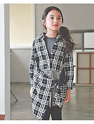 Girl's Casual/Daily Check DressCotton Fall Black