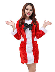 Ladies Bow Christmas Dress With Hat Xmas Fancy Costume Outfit