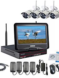 câmera IP sem fio strongshine® com 960p / infravermelho / impermeável e NVR com kits lcd de combinação 10.1inch