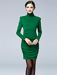 Women's Going out / Work Punk & Gothic / Sophisticated Sheath Dress,Solid Turtleneck Above Knee Long Sleeve Red / Black / Green RayonAll