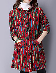 Women's Long Padded Coat,Vintage Casual/Daily Polka Dot-Cotton Polyester Long Sleeve Hooded Red