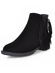 Women's Frosted Low Top Fringed Pull On Low Heels Boots