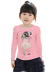 Girl's Purified Cotton Spring/Fall Fashion Casual/Daily Cartoon Print Long Sleeves T-shirt With The Round Neck