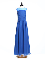 LAN TING BRIDE Floor-length Chiffon Junior Bridesmaid Dress A-line Jewel Natural with Side Draping