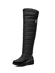 Women's Low Heels High Top Solid Pull On Boots