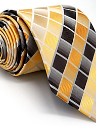 Men's Necktie Tie Yellow Checked 100% Silk Jacquard Woven Business Dress Casual Wedding For Men