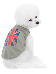 Cães Moletom Cinzento Roupas para Cães Inverno / Verão / Primavera/Outono Bandeira Nacional Da Moda / Casual /