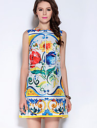 Mary Yan & Yu Women's Casual/Daily Sophisticated Sheath DressFloral Round Neck Above Knee Sleeveless Blue Cotton / Polyester Summer Mid Rise