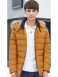 Men's Regular Padded Coat,Simple Casual/Daily Solid-Polyester White Duck Down Long Sleeve Hooded Yellow