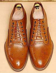 Men's Oxfords Comfort Cowhide Casual Comfort Black Brown Flat