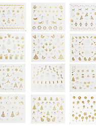 12 Designs Christmas Nail Art Stickers 3D Gold & Silver Metalic Snowflake Christmas Tree XMAS Nail Decorations