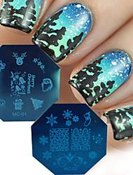 новый 2016 Рождественские серии искусства ногтя шаблоны марка поделки Санта-Клауса дерево декора ногтей советы маникюра штамповка пластин