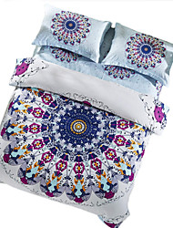 BeddingOutlet Boho Bedding Set Warm Cotton Satin Bed Cover Sheet Set Mandala Queen Size 4pcs