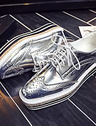 Серебристый / Золотистый-Женский-На каждый день-Кожа-На платформе-На платформе-Обувь на каблуках