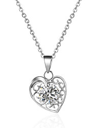 Romantic Style Silver Tone Heart Hollow Pendant Necklace