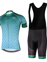 Sports QKI Cycling Jersey with Bib Shorts 5D Pro Gel Padded Unisex Short SleeveBreathable / Quick Dry