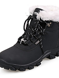 Women's Boots Fall Winter Comfort Leather Athletic Flat Heel Lace-up Black White