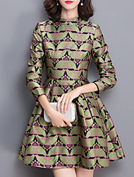 Women's Plus Size Street chic Sheath DressPrint Crew Neck Above Knee Long Sleeve Green