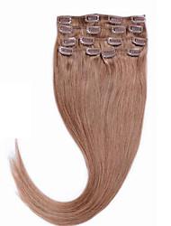 clipe brasileira em Remy cabelo humano # 16 de ouro 14-26 verdadeira cabelo humano clipe de 70g 80g loira no cabelo humano virgem