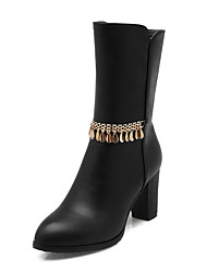 Women's High-Heels Solid Round Closed Toe Soft Material Chains Boots