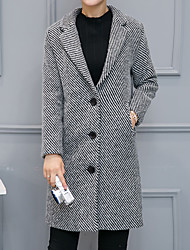 Women's Going out Simple Trench CoatSolid Notch Lapel Long Sleeve Winter Gray Wool / Polyester Thick