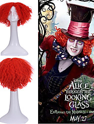 Hot Sell Alice Mad Hatter Party Hair Short Curly Orange Red Color Men Movie Cosplay Wigs Heat Resistant Synthetic Wigs