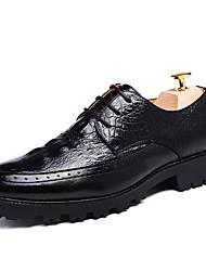 Masculino sapatos Couro Envernizado Primavera Outono MaryJane Oxfords Caminhada Cadarço Para Casual Festas & Noite Preto Marron Vinho