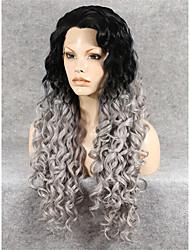 imstyle qualidade 26''high longos cinza perucas sintéticas encaracolado rendas frente alta raiz preta resistente