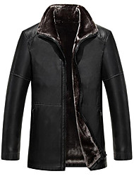Men's Plus Size / Casual/Daily Simple Leather Jackets,Solid Long Sleeve Black / Brown Lambskin
