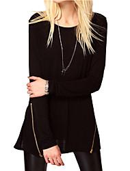 Tee-shirt Femme,Couleur Pleine Décontracté / Quotidien Vintage Toutes les Saisons Manches Longues Col Arrondi Noir Polyester Fin