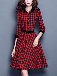 Women's Plus Size Sophisticated Sheath DressPlaid Shirt Collar Knee-length / Asymmetrical  Sleeve Red / Gray Cotton