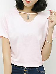Damen Solide Einfach Lässig/Alltäglich T-shirt,Rundhalsausschnitt Sommer Kurzarm Rosa / Weiß / Grau Baumwolle Mittel