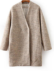 Women's Casual/Daily Simple Trench Coat,Solid Long Sleeve Winter Beige Wool Medium