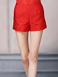 Damen Hose - Retro Kurze Hose Baumwolle / Polyester Mikro-elastisch