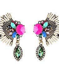 European Luxury Gem Geometric Earrrings Exaggerated Wing Drop Earrings for Women Fashion Jewelry Best Gift