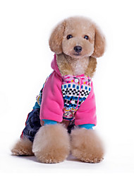 Dog Hoodie Blue / Pink Dog Clothes Winter Flower Casual/Daily / Keep Warm /