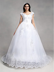 A-Line V-neck Chapel Train Lace Tulle Wedding Dress with Beading Sequin Appliques by QQC Bridal