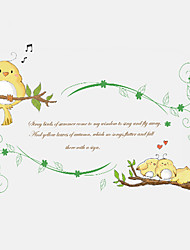 Cartoon Branches Birds English Quotes Wall Stickers DIY Fashion Children's Bedroom Study Room Wall Decals