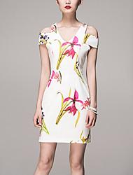 Gaine Robe Femme Décontracté / Quotidien Chinoiserie,Fleur A Bretelles Mini Manches Courtes Blanc Coton / Polyester / SpandexPrintemps /