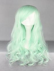 новый Хэллоуин высшего сорта 70см длинные вьющиеся светло-зеленый синтетический парик лолита