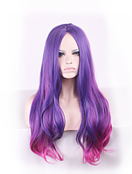 Purple Harajuku Ombre Wig Pelucas Pelo Wavy Natural Heat Resistant Anime Cosplay Wigs Perruque Synthetic Wig Women hair style