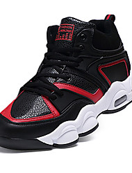 Masculino-Tênis-Conforto-Rasteiro-Preto Preto e Vermelho Preto e Branco-Couro Ecológico-Para Esporte