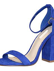 Damen-Sandalen-Büro Kleid Lässig-Stoff-BlockabsatzSchwarz Rot Blau